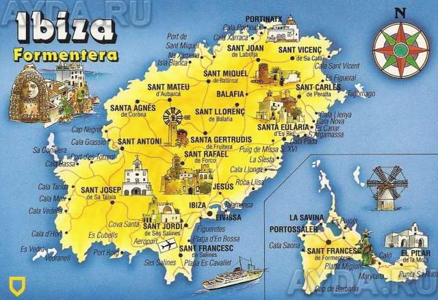 Ибица карта острова