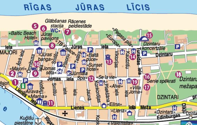 Карта Юрмалы