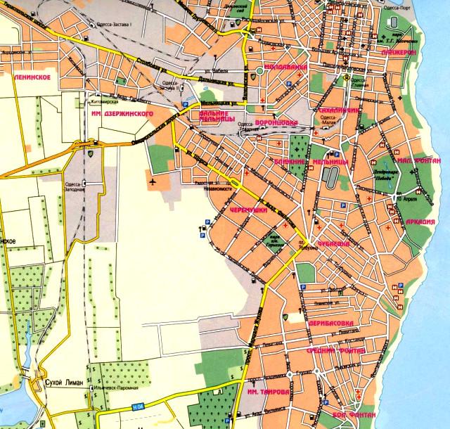 Одесса на карте
