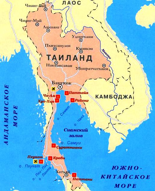 Паттайя на карте Таиланда