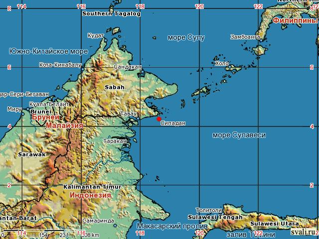 Сипадан на карте