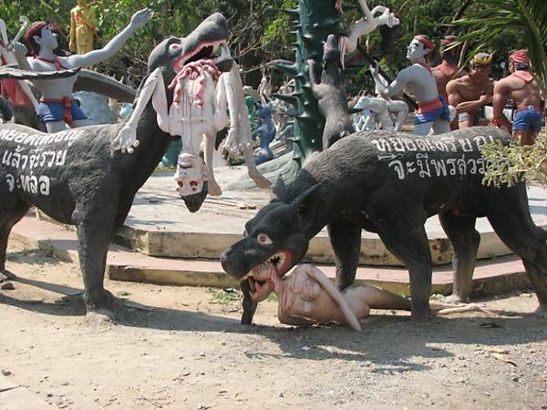 смерти, Парк грешников в Таиланде, место, полное, Тайцы, детьми, Кроме, много, среди, представление, грешников, плохо, здесь, очень, странная, туристов, малоизвестный