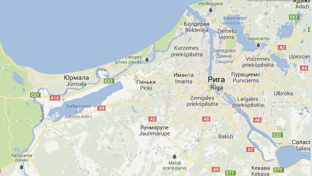 Юрмала на карте Латвии